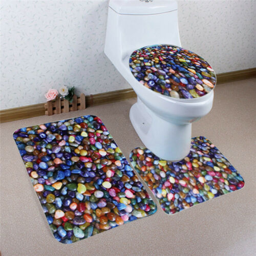 Toilet Seat Cover 3 PCS Colorful pebble Pattern Pedestal Toilet Seat Cushion new