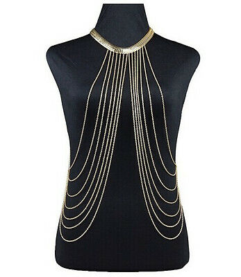 Hot Fashion Punk Body Chain Multilayer Tassel Waist Chain Link Necklace Harness