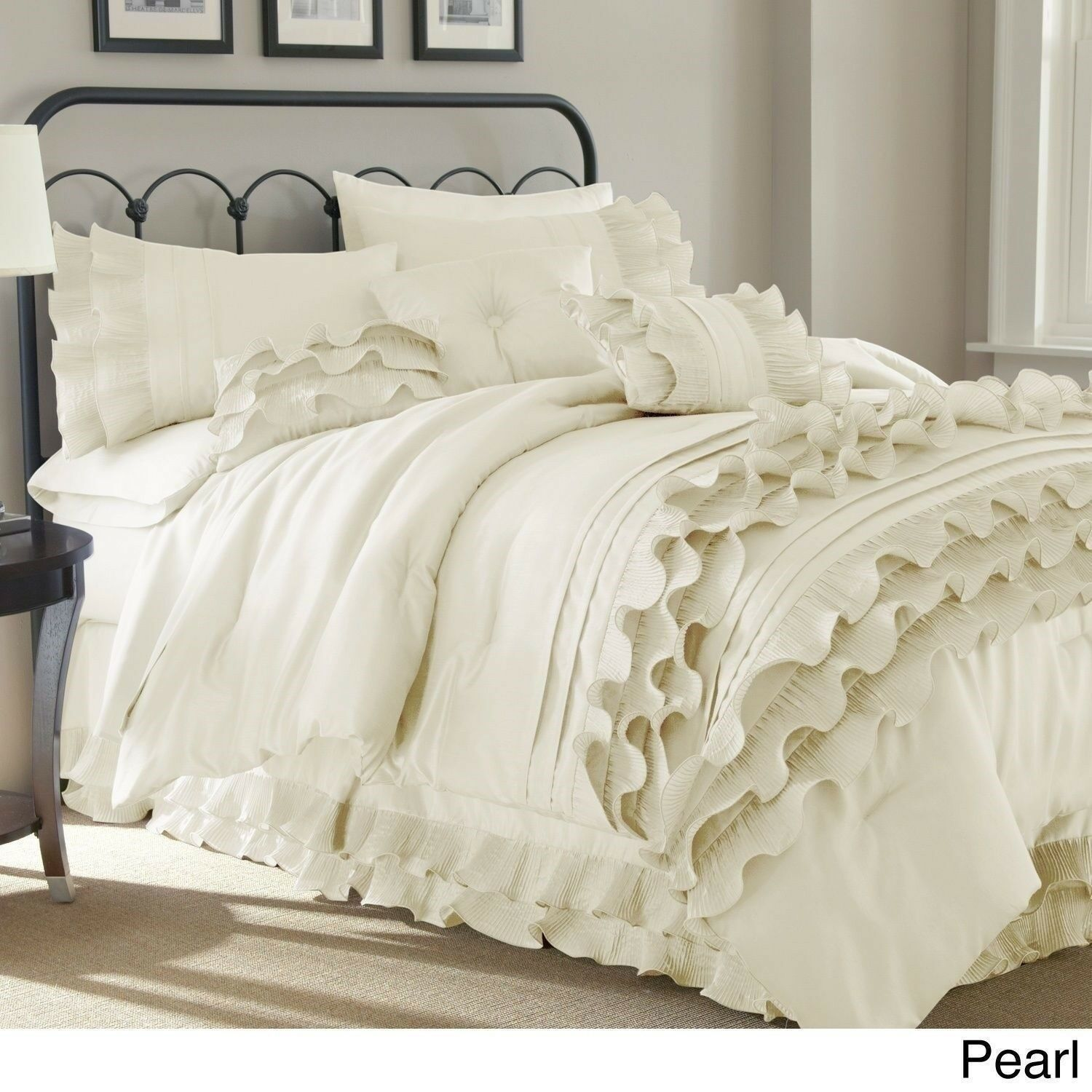 Queen King Bed Solid Neutral White Ruffles Frilly 8 pc Comforter Set Bedding
