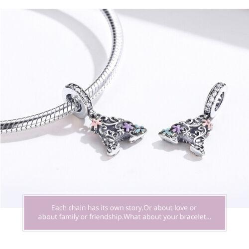 Bamoer européen S925 Sterling Silver Charm Lettre un pendentif Fit Bracelet Femmes