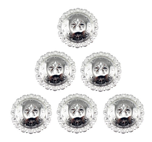 CONCHOS LOT OF 6 PCS SHINY SILVER ENGRAVED WINDROSE WESTERN LEATHER CRAFT 1 INCH