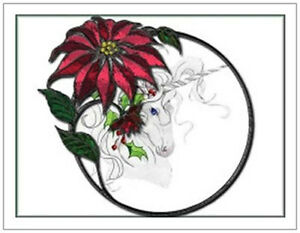 20-CHRISTMAS-Believe-UNICORN-Pointsettia-5-5X4-Flat-CARDS-Envelopes-Seals