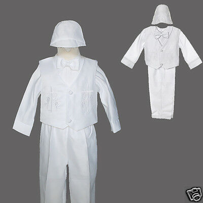Baby Toddler & Boy Christening Formal Vest Suit White Sz:xs S,m,l,xl 2t 3t 4t Selected Material
