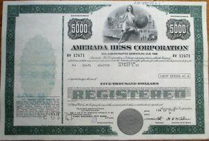 Amerada Hess Gas Oil 1972 5000 Stock Bond Certificate Green Ebay