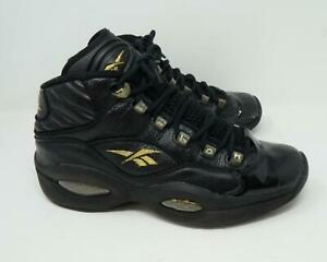 Reebok-Question-Allen-Iverson-Mid-New-Years-Eve-Sneakers-Black-Gold-US-Men-039-s-10