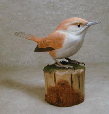 Bewick's Wren Original Bird Wood Carving