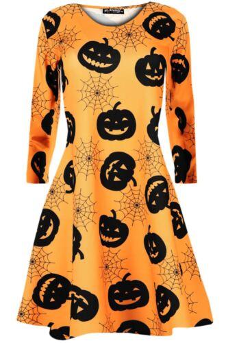 Femme Fantôme Crâne effrayant les chauves-souris Blouse Patineuse Femme Swing Mini Robe UK 8-34