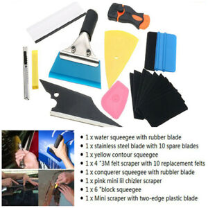 Car-Window-Tint-Film-Wrapping-Vinyl-Tools-Squeegee-Scraper-Blade-Applicator-Kit