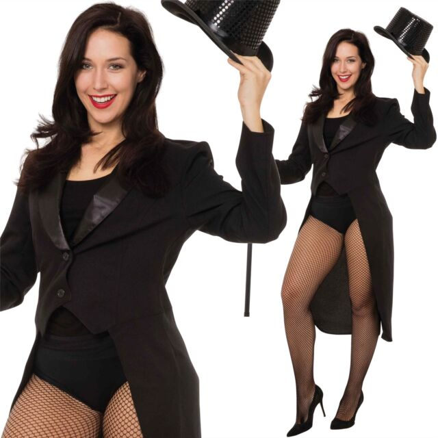 Adult Ladies Tailcoat Jacket Ringmaster Magician Cabaret Fancy Dress Costume