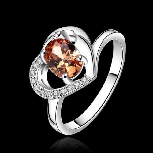 Wholesale 925Sterling Silver Jewelry Zircon Love Heart Woman Ring Size 7 8 RB639