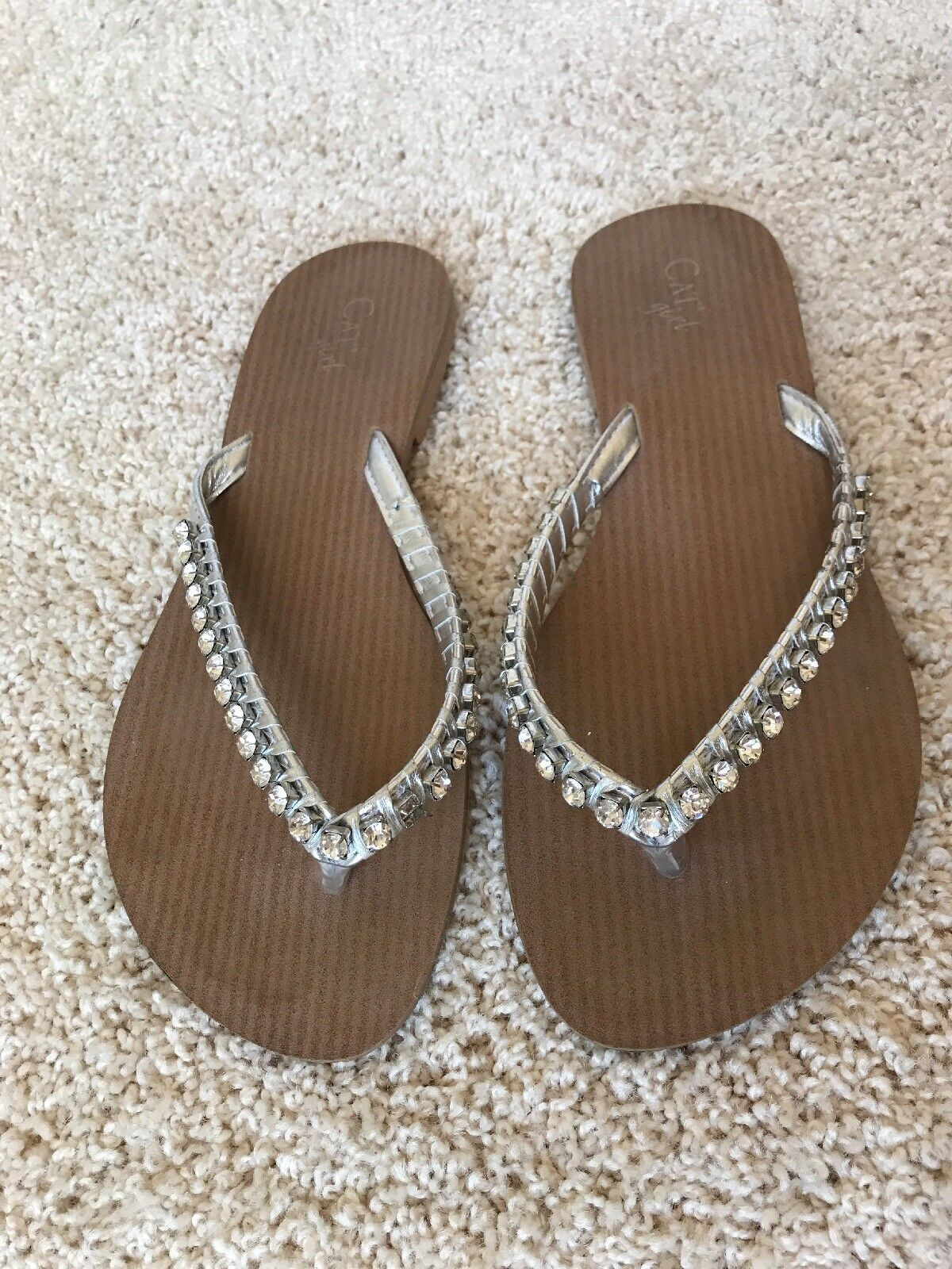 Cat Girl Rhinestone Silver Size Leather Flip Flop Flats Size Silver 7 8aec43