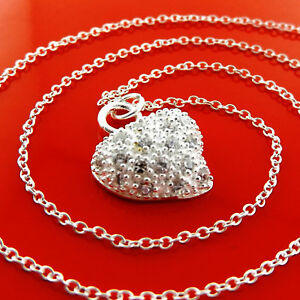 X-A976-GENUINE-REAL-925-STERLING-SILVER-S-F-SOLID-LADIES-HEART-NECKLACE-CHAIN