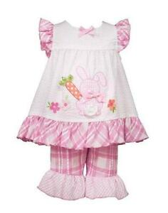 Bonnie Jean Toddler Girl/'s Coral Easter Bunny Dress /& Capri Set-Size-2T or 3T
