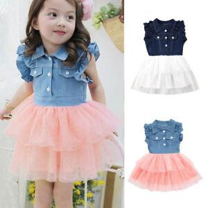 113bde6963 Toddler Infant Kids Baby Girls Summer Denim Dress Princess Party ...
