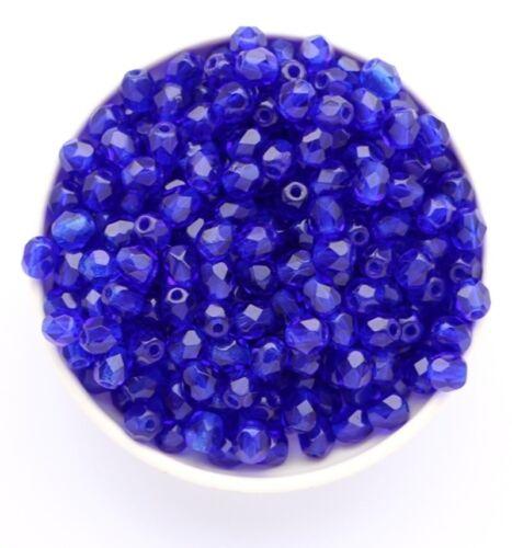 4mm Cobalt Blue Facet 100pcs Czech Fire Polished Glass Round beads free shipping