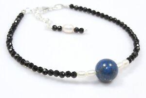 Black-Spinel-Lapis-Lazuli-Bracelet-Sterling-Silver-3-MM-6-5-034-7-5-034-Birthday-Gift