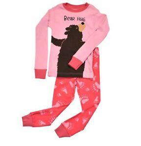 "Brandneu 2t 4t SorgfäLtig AusgewäHlte Materialien Lazy One 3t Mädchen Langärmlig Schlafanzug Set "" Bear Hug"
