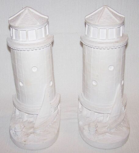 """LIGHTHOUSE BOOKENDS"" Sailboat Nautical Books Shelf Decor Plaster PL16 NEW"