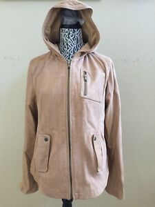 UGG WOMEN AILEN SAND LEATHER HOODED BIKER JACKET COAT Size XL - TAG ... 9d525fcf0