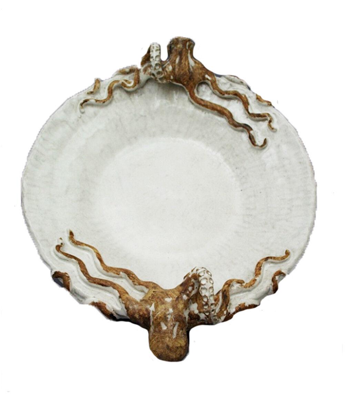 Shayne Greco -  Round Octopus Serving Platter - White