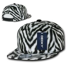 Black & White Zebra Animal Print Vintage Snap back Classic Flat Bill Hat Cap