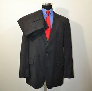 Brooks-Brothers-46L-36x30-2PC-Full-Suit-Wool-Gray-Pinstripes-USA