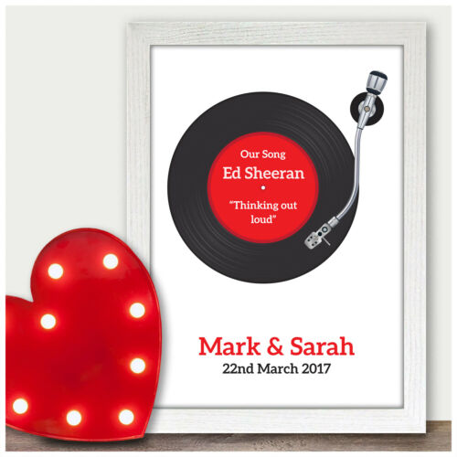 PERSONALISED First Dance Record Song Print Wedding Anniversary Gifts for Couples