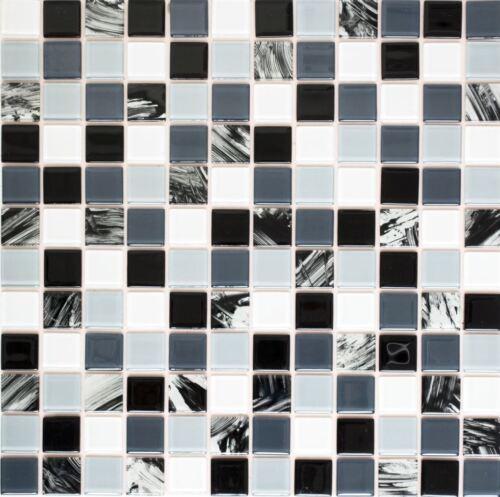 Autocollantes Glasmosaik Carreaux Gris Noir Blanc Cuisine Mur Arrière wb200-4cm28