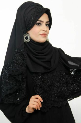 BD6001 Dantelli Fertig Kopftuch Schal Bandana Hazir Türban Sal Tesettür Hijab