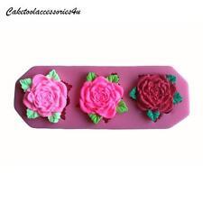 3 Silicona Rosa Molde Decoración Tartas Flor Chocolate Horneado Boda