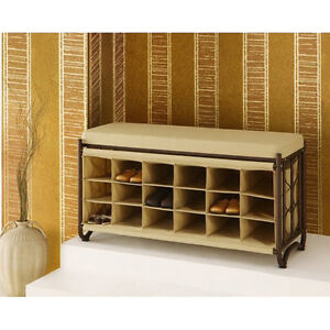 Shoe Storage Bench Entryway Bench 18 Storage Cubbies Tan Cushion