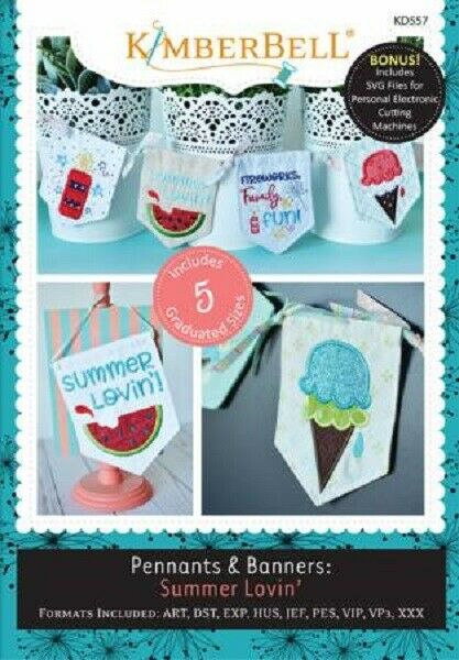 KimberBell Embroidery CD ~ Summer Lovin ~ Pennants & Banners ~ KD557