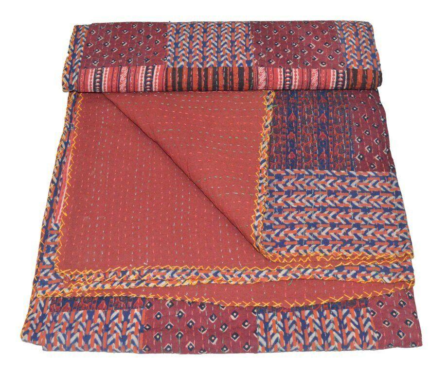 Multi Kantha Decke Block Gudri Handmade Einzelbett Tagesdecken Überwurf