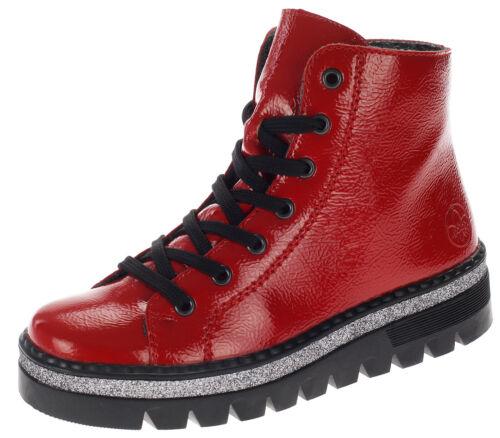 Rieker Damen Stiefeletten Boots Gefütterte Schuhe Stiefel Profilsohle Rot 18774