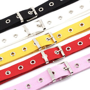 Studded-Grommet-Holes-Canvas-Belt-Buckle-Eyelet-Stud-Women-Fashion-Waistband-OT