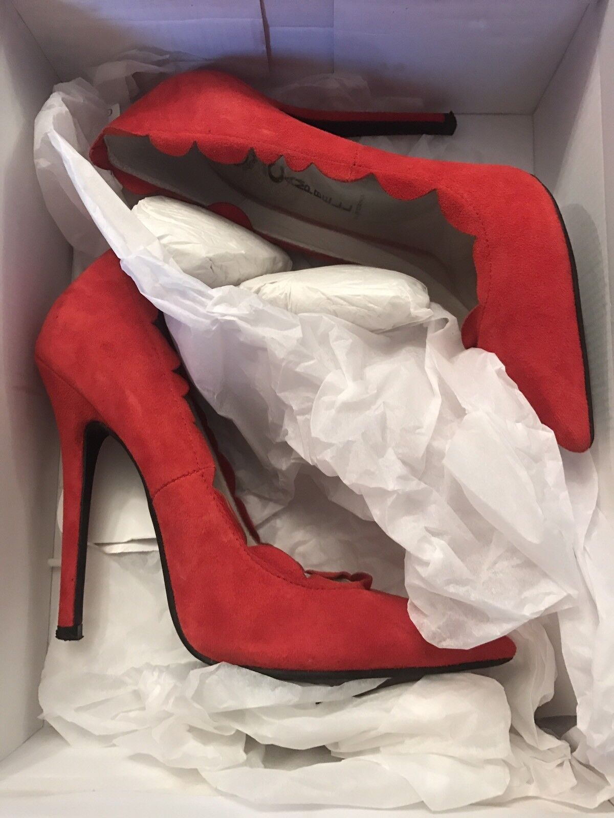 *SOLD OUT EVERYWHERE* Red Suede Jeffrey Campbell Scallopini Pump - Size 5.5