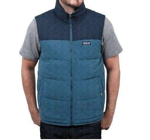 Patagonia Bivy Reversible 600 Fill Navy bluee Down Bomber Vest XXS Mens