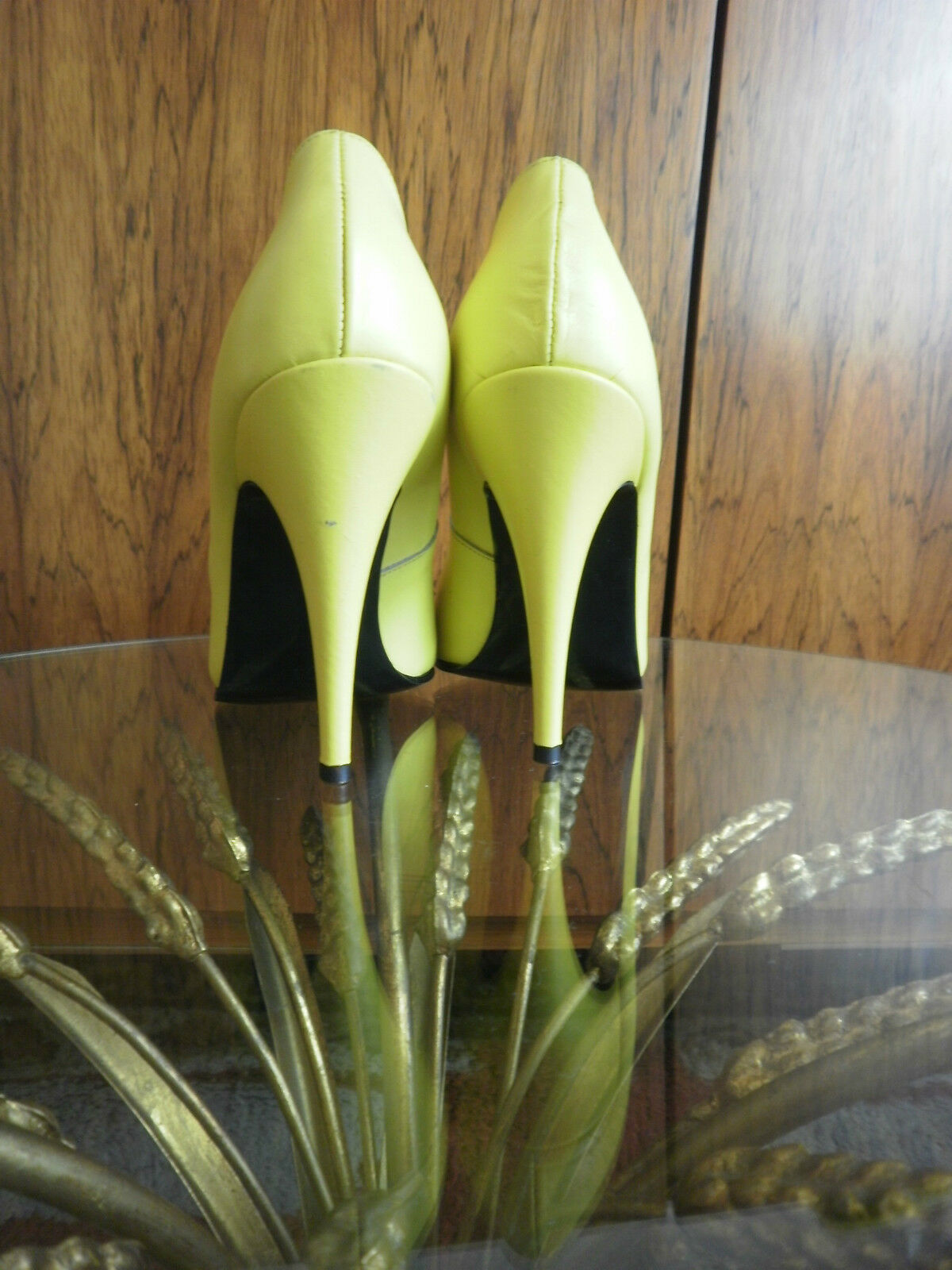 Pumps ANDRE` Damen Schuhe High Heels Gelb 80er TRUE VINTAGE 80s