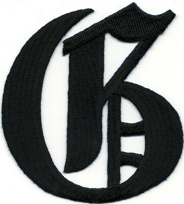 "3/"" Fancy Black Old English Alphabet Letter N Embroidered Patch"