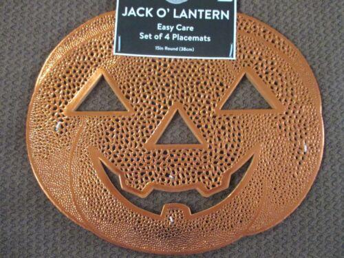 "NWT Set of 4 Halloween Thick Vinyl Cut Out Jack O/'Lanterns 15/"" Pumpkin Placemats"