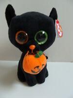 Ty Beanie Boos 6 Shadow Cat Halloween Black Plush Pumpkin Glitter Boo