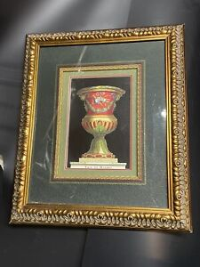 """Antique Ornate Large Wood Gesso Picture Frame, Bronze 19 1/2 """" X 16 1/2"""" W Mat"""