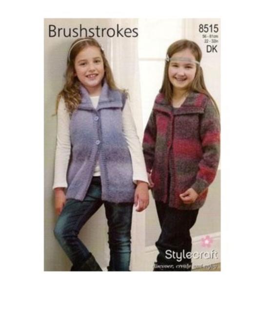 "Stylecraft Knitting Pattern 8515 Girls Collared Cardigans Jacket DK 22-32/"" NEW"