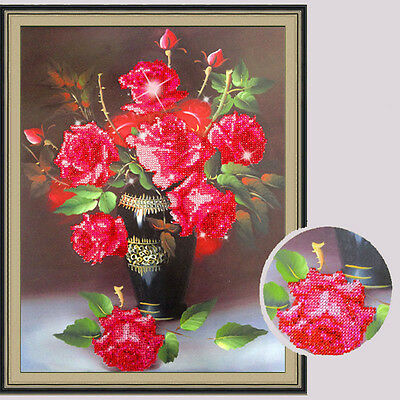 40*48cm 5D Rose Flower DIY Crystal Diamond Painting Cross Stitch Embroider Decor