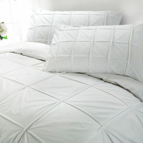 Hotel Quality 100/% Egyptian Cotton 200 Thread Pleated Duvet Cover Bed Set Silver