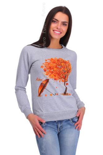 Damen Sweatshirt mit Aufdruck Langärmlig Pullover Top Sweat Mädchen Pulli BLUSE