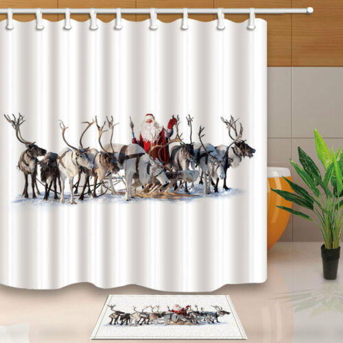 Merry Christmas Santa and Moose Waterproof Polyester Fabric Shower Curtain