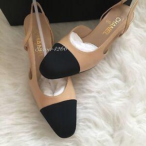296a49edb4 NIB CHANEL Two-Tone Beige Black Leather Slingbacks Shoes Pump size ...