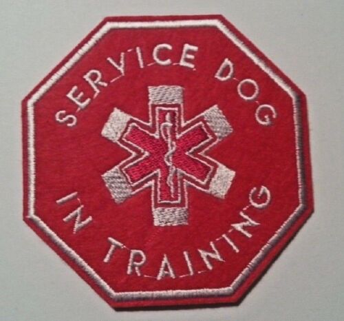 """Service Dog in Training~Embroidered Applique PATCH~3 3//4/"""" x 3 3//4/""""~Iron Sew On"""