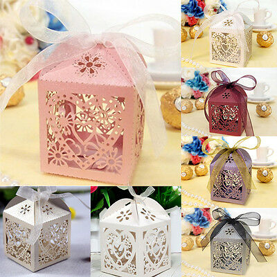 10/50/100 Pcs Love Heart Wedding Party Favor Ribbon Candy Boxes Gift Box #YMLA1